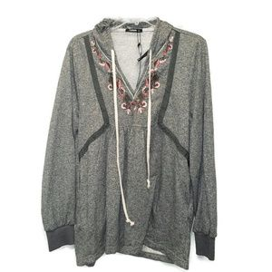 Annabelle Nwts Gray Hooded 2xl Boho Blouse tunic